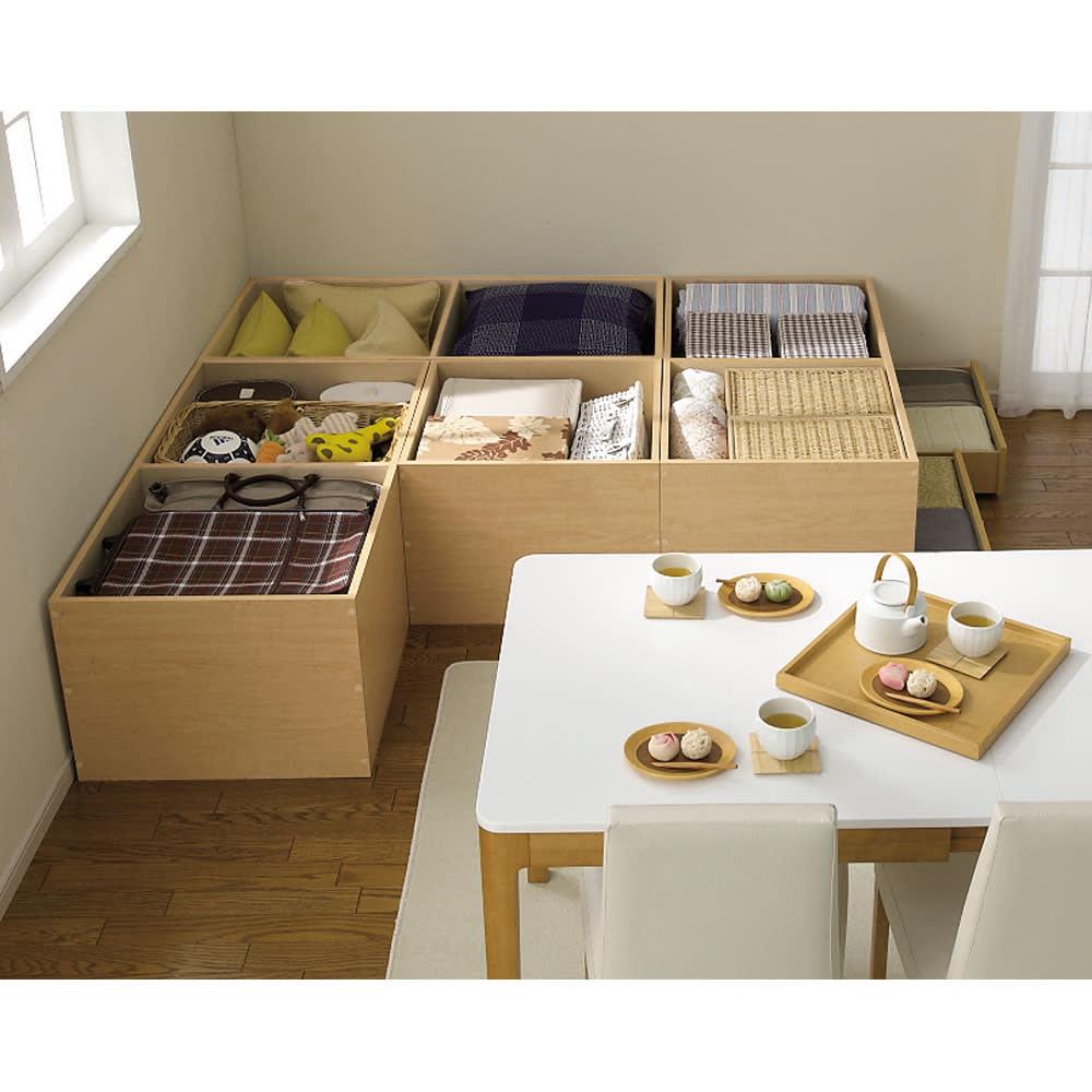 ユニット畳シリーズ 1畳 高さ45cm 3.5畳の組み合わせの収納例 畳の下にはこんなにたっぷり隠せる収納力!
