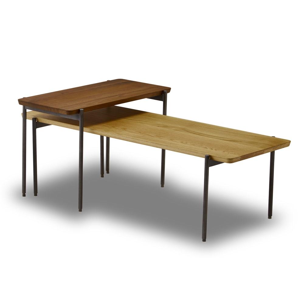 リクト天然木テーブル サイドテーブル ウォルナット ※写真は別売りのセンターテーブル(オーク)との組合せです。