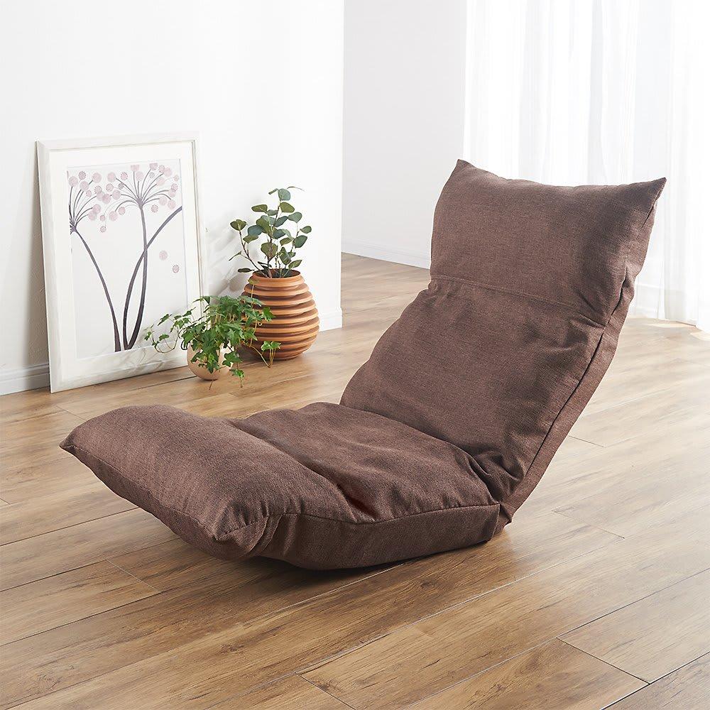[国産]ふんわりハイバック座椅子ソファデラックス (ア)ブラウン