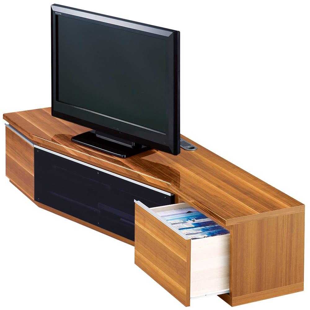 住宅事情を考えたコーナーテレビボード 幅165cm・左コーナー用(左側壁用) (ウ)ライトブラウン 引き出し付き。○テレビは32V型を設置しています。