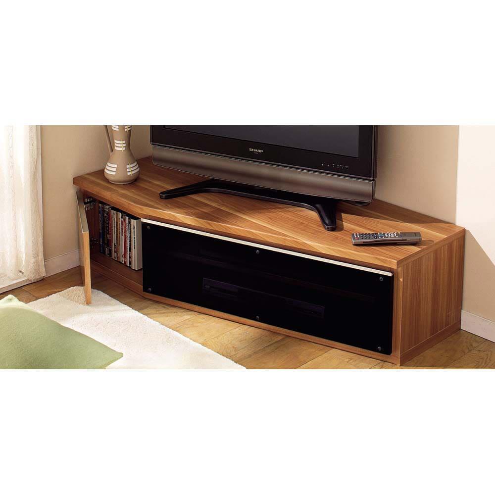 住宅事情を考えたコーナーテレビボード 幅165cm・左コーナー用(左側壁用) (ウ)色見本 ※写真は幅123.5・左側壁用です