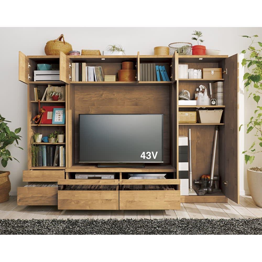 天然木調テレビ台ハイバックシリーズ オープンキャビネット・幅45.5奥行34.5cm コーディネート例