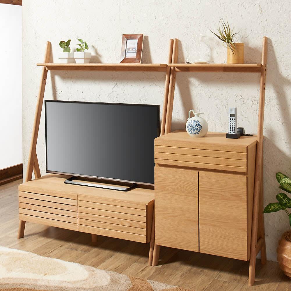 天然木シェルフテレビ台シリーズ テレビ台 幅110cm コーディネート例(ア)ナチュラル ハイタイプなのにこの開放感。
