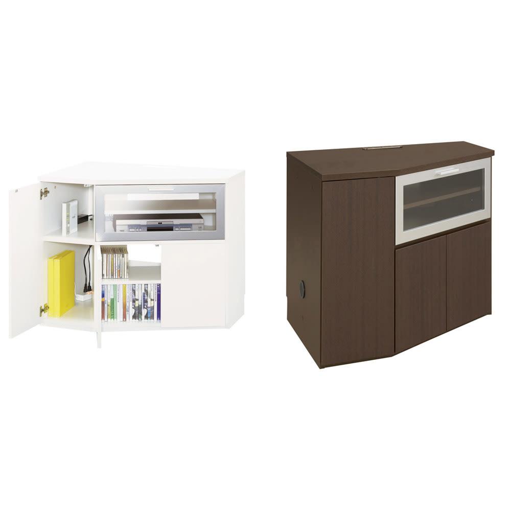 ダイニングテーブルから見やすいハイタイプテレビ台左コーナー用(左壁用) コーナー側の片扉はコードが通せるようになっているので、モデムやルーターなども収納できます。