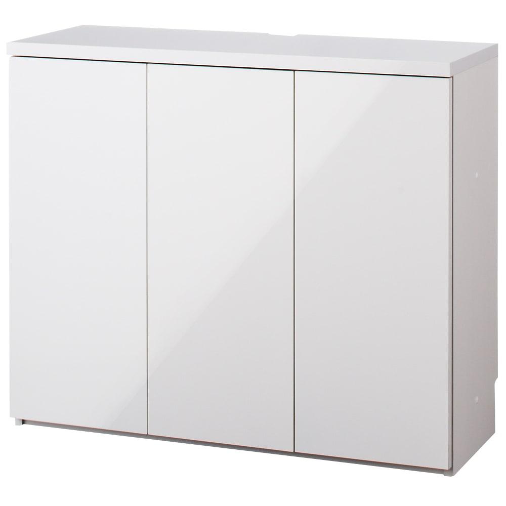 ダイニングテーブルから見やすいハイタイプテレビシリーズ  薄型キャビネット3枚扉  幅89.5cm (イ)ホワイト