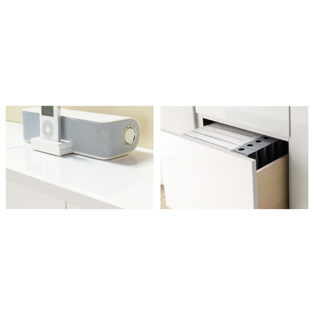 ダイニングテーブルから見やすいハイタイプテレビシリーズ  薄型サイドチェスト幅44.5cm (イ)ホワイトは美しい光沢仕上げ。