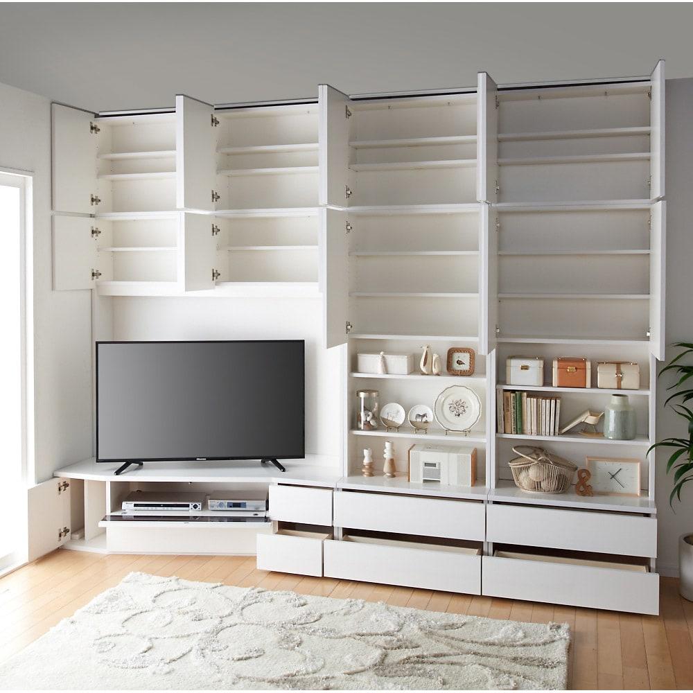 コーナーテレビ台壁面収納シリーズ 幅117cm TV台右壁設置用 デッキ収納部はフラップ扉仕様です 画像は左設置用150cmです。