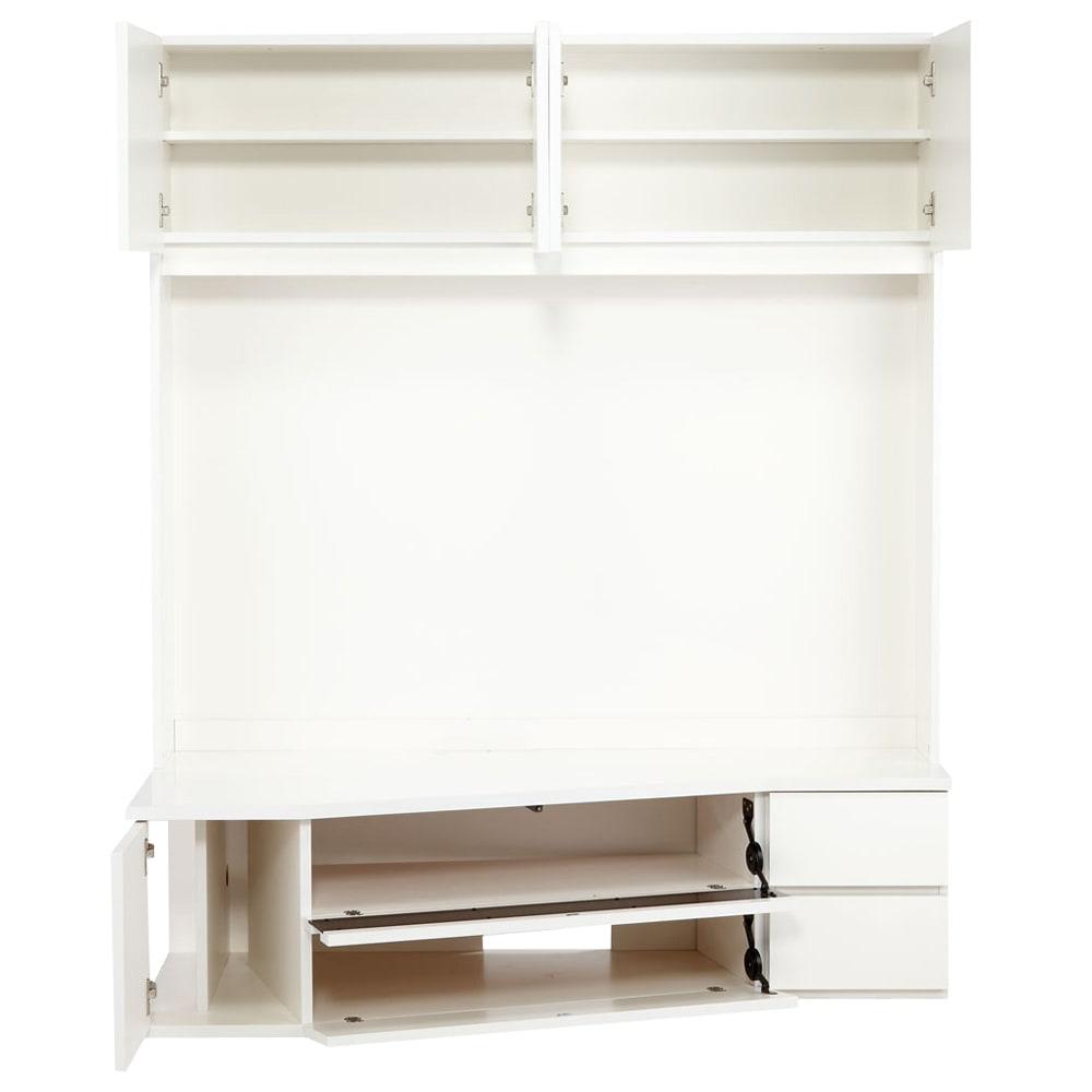 コーナーテレビ台壁面収納シリーズ 幅150cmTV台左壁設置用 (ア)ホワイト デッキ収納部はフラップ扉になっています。