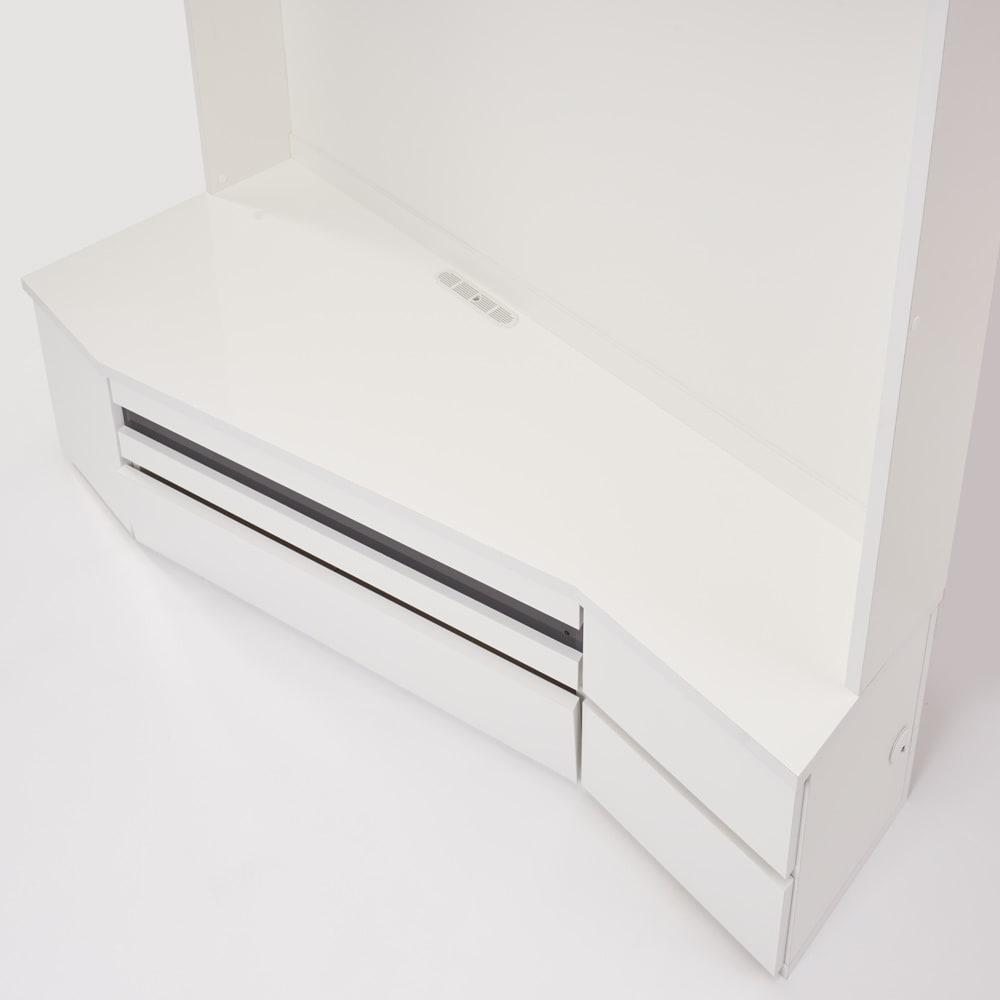 コーナーテレビ台壁面収納シリーズ 幅150cmTV台左壁設置用 テレビの角度をつけやすい天板
