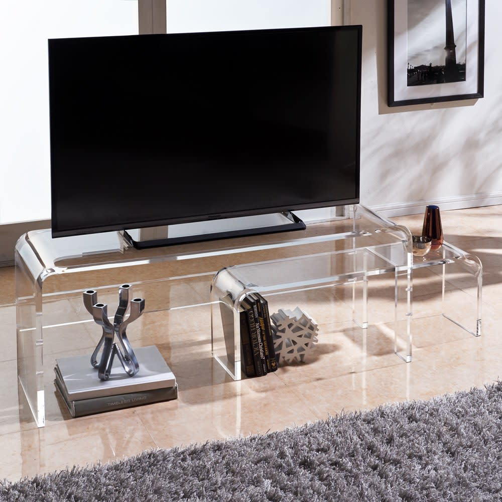 アクリル伸縮式テレビボード 幅115~195cm ※写真は幅90~170cmタイプです。
