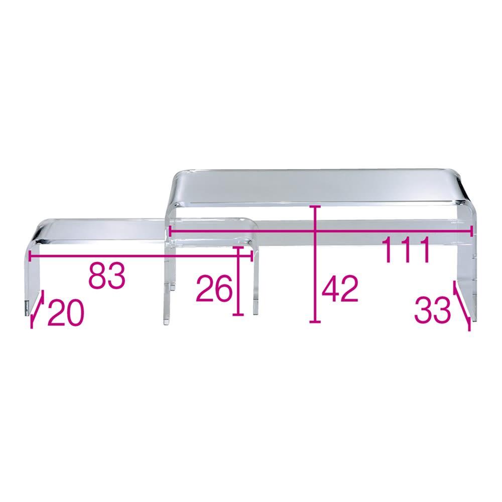 アクリル伸縮式テレビボード 幅115~195cm ※赤文字は内寸(単位:cm)