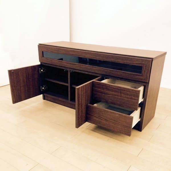 【完成品・国産家具】ベッドルームで大画面シアターシリーズ テレビ台 幅105高さ55cm 幅105cmは、扉部も引出部もついたタイプです。