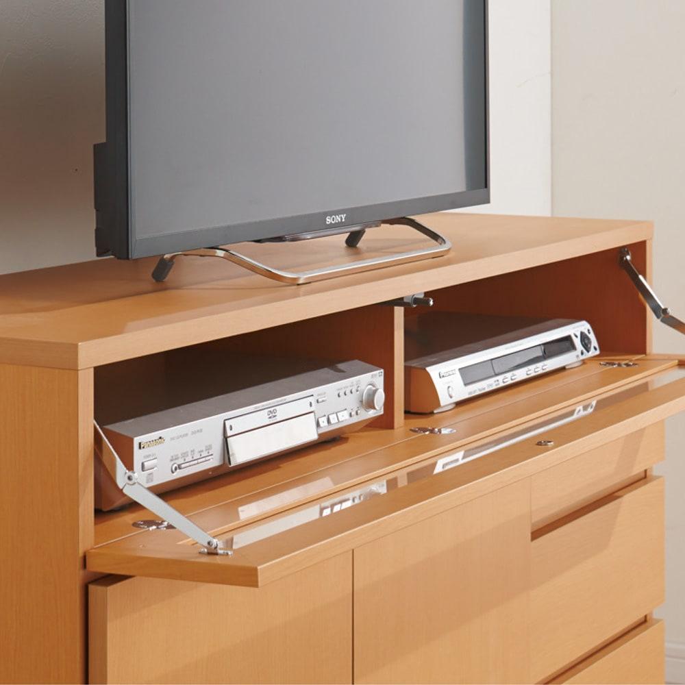 【完成品・国産家具】ベッドルームで大画面シアターシリーズ テレビ台 幅105高さ55cm フラップ扉内はデッキ類を効率よく収納。ホコリも防ぎます。