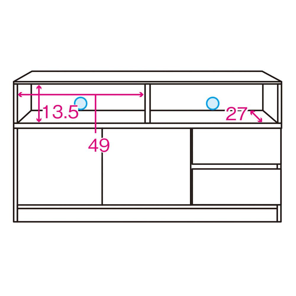 【完成品・国産家具】ベッドルームで大画面シアターシリーズ テレビ台 幅105高さ55cm 内寸図 ※赤文字は内寸(単位:cm)※青色部分はコード穴
