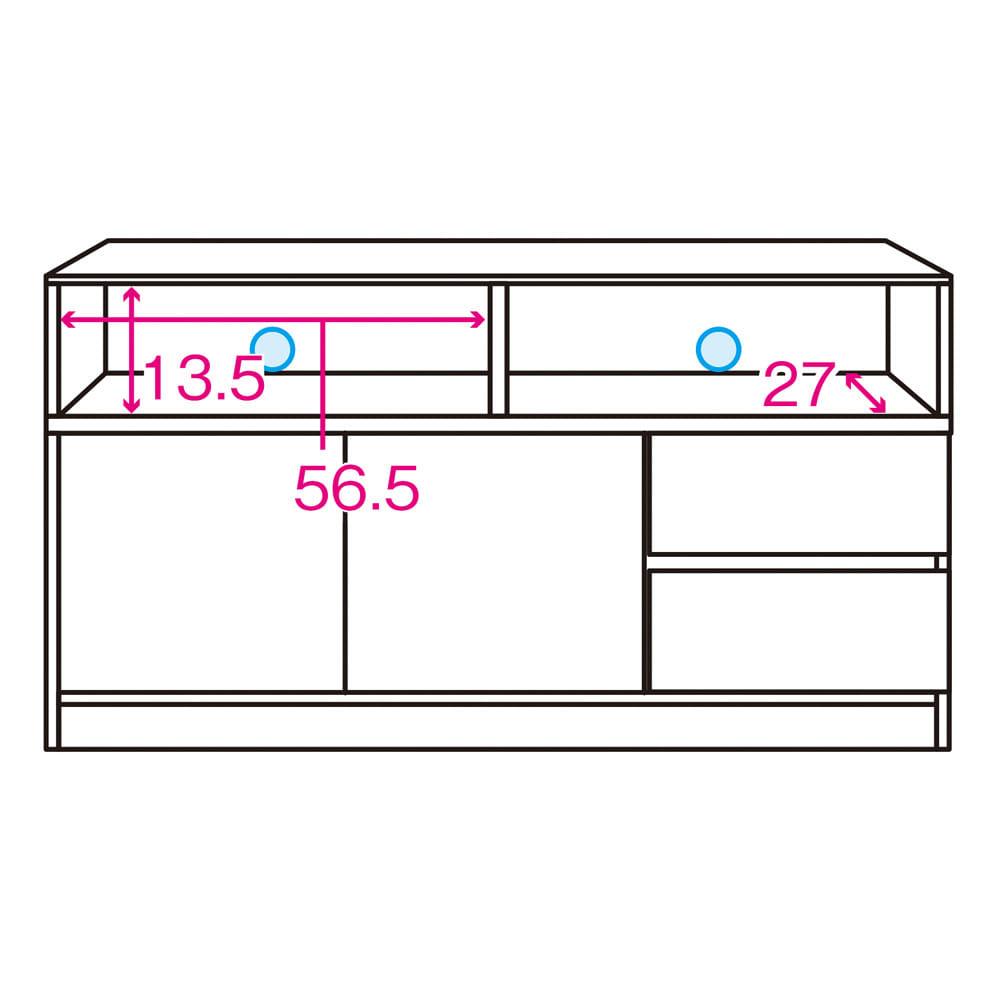 【完成品・国産家具】ベッドルームで大画面シアターシリーズ テレビ台 幅120高さ70cm 内寸図 ※赤文字は内寸(単位:cm)※青色部分はコード穴