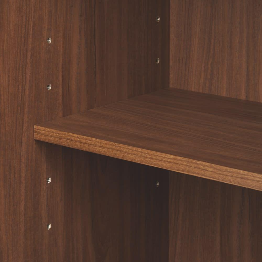 天然木格子 リビングボードシリーズ サイドボード 幅80cm 6cm間隔で調節できる可動棚。