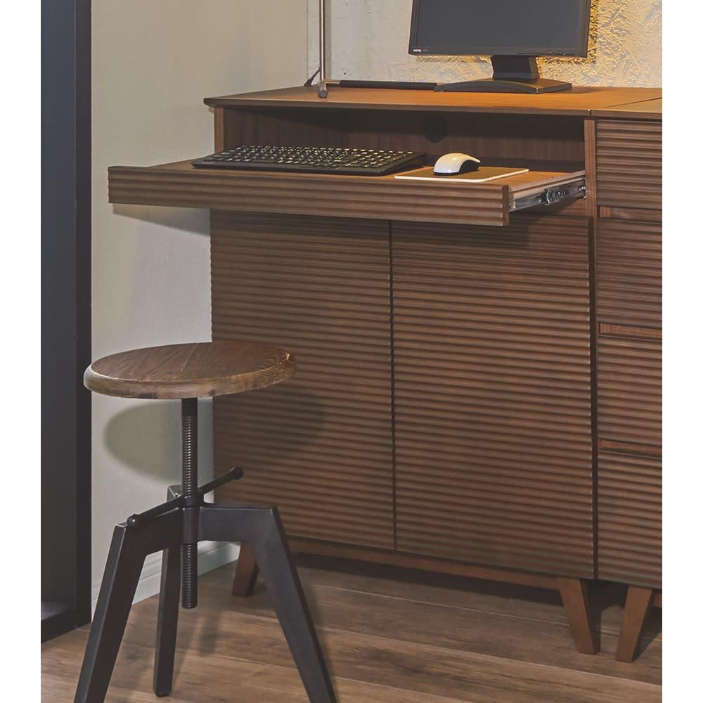 テレワークにも最適! 天然木格子 リビングボードシリーズ PCキャビネット 幅80cm
