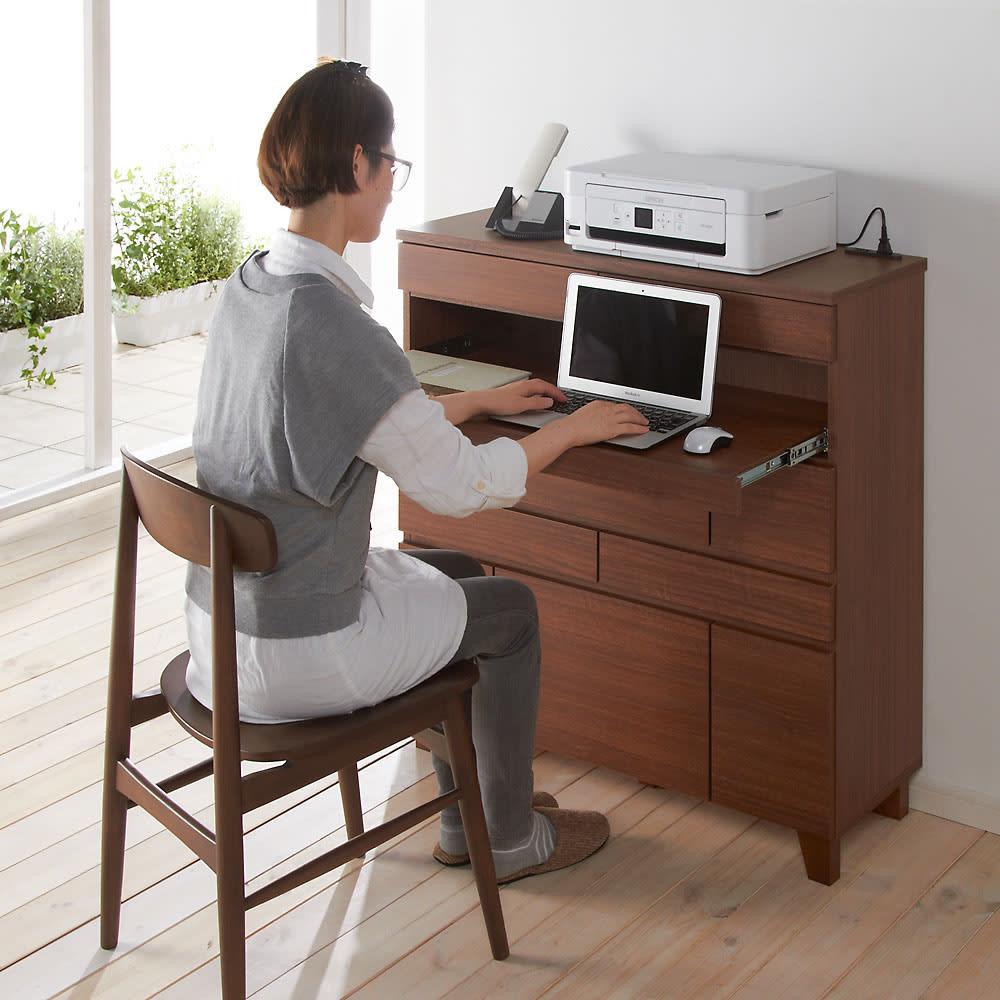 プリンターも置けるオールインワン収納引き出しFAX台 幅45cm ※写真は幅89cmタイプ 中央のスライドテーブルを引き出せばノートPCテーブルとして使えます。床からスライドテーブルまでの高さ70cm