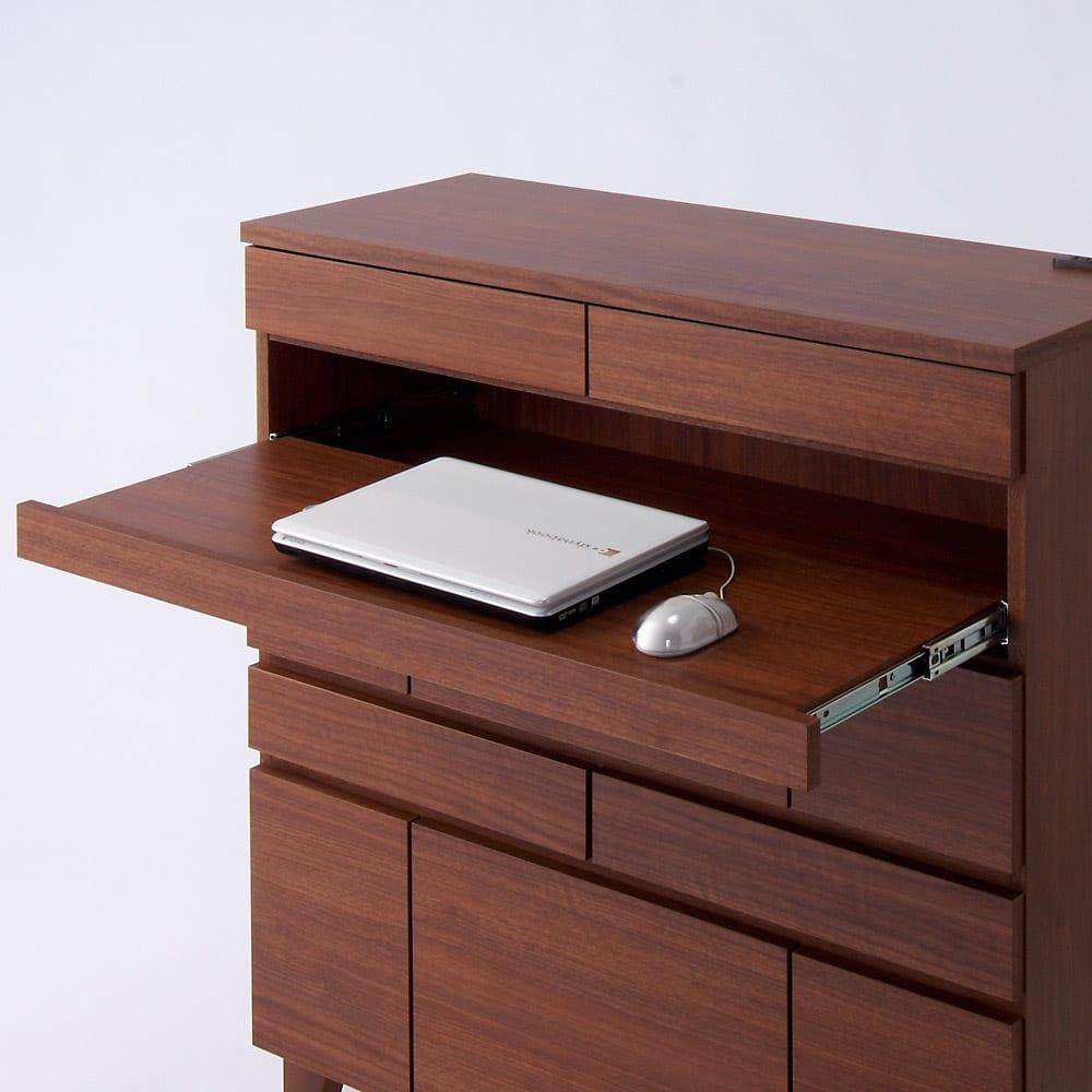 プリンターも置けるオールインワン収納引き出しFAX台 幅45cm スライド棚収納部の有効内寸は幅38cm 奥行30cm 高さ10.5cmです。