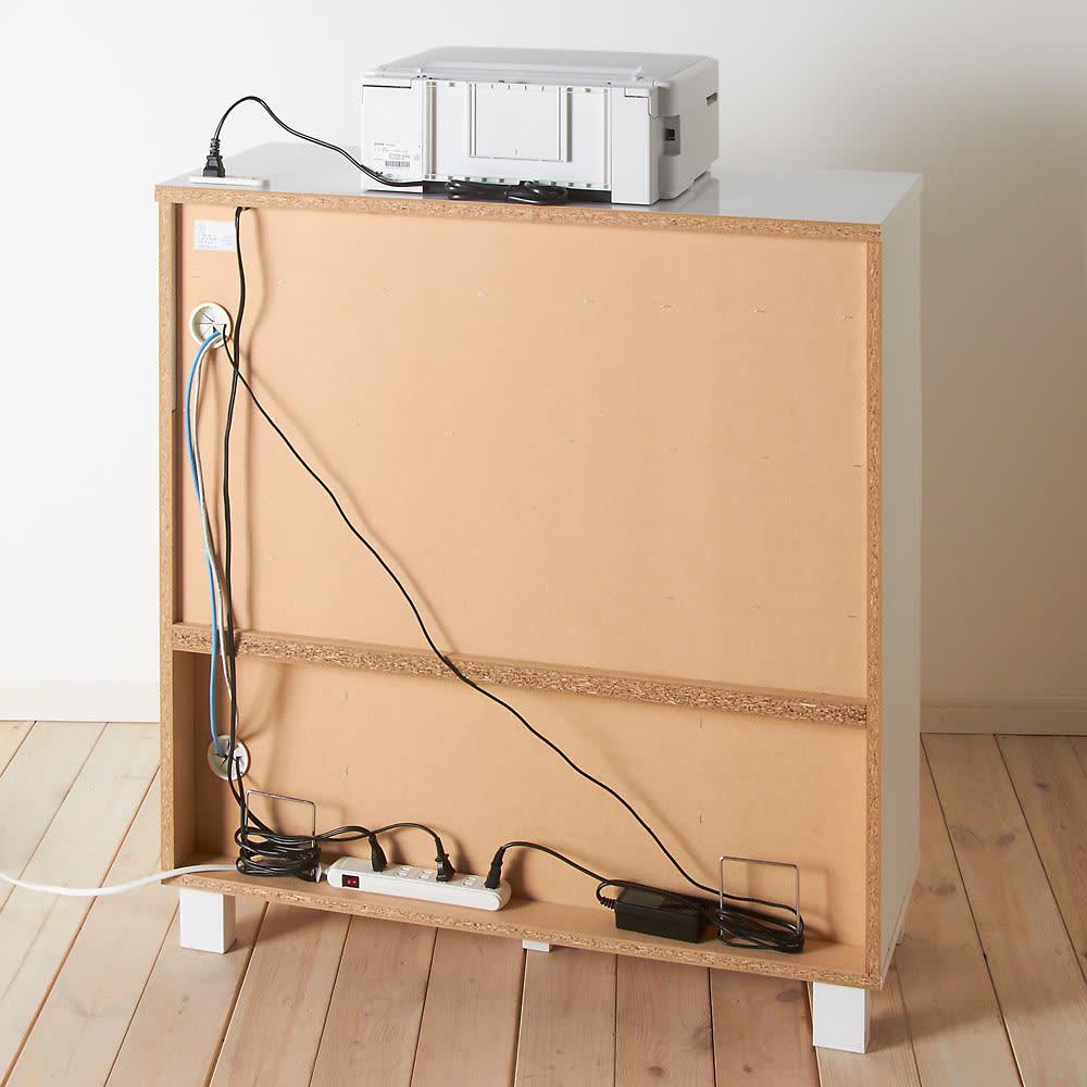 プリンターも置けるオールインワン収納引き出しFAX台 幅45cm 【背面仕様】本体下部分にはコンセントタップの収納スペースがあります。※写真は幅89cmタイプ。