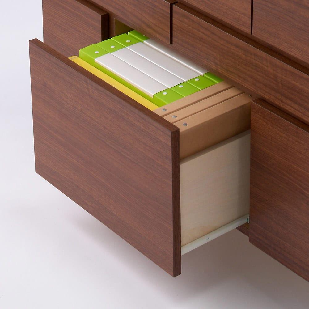 インクジェットプリンターが置ける オールインワン収納引き出しFAX台 幅89cm 下段の大きい引き出しにはA4サイズの用紙やファイルが収納できます。