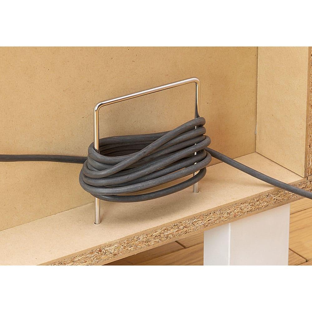 インクジェットプリンターが置ける オールインワン収納引き出しFAX台 幅89cm 本体裏面の下段部にはコード巻き付き。