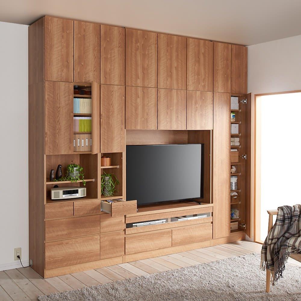 天然木調 リビング壁面収納シリーズ 収納庫 扉タイプ 幅29cm コーディネート例