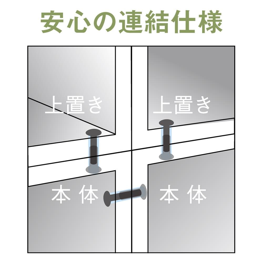 天然木調 リビング壁面収納シリーズ 収納庫 扉タイプ 幅29cm 本体の横・上置きとの上下連結はネジ固定。