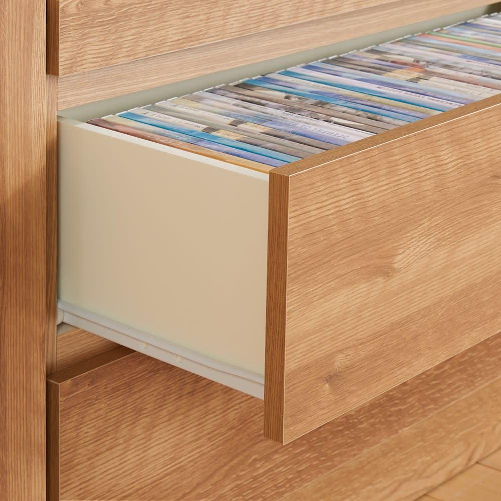 天然木調 リビング壁面収納シリーズ 収納庫 扉・引き出しタイプ 幅29cm 引き出しは全段ラクに開閉できるレール付き。