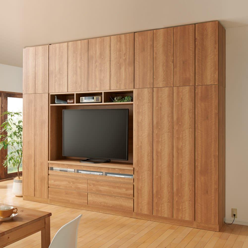 天然木調 リビング壁面収納シリーズ テレビ台 ミドルタイプ 幅89.5cm コーディネート例 ※写真の天井高さ260cm