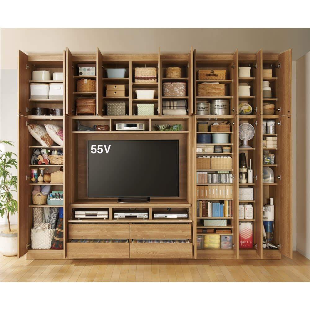 天然木調 リビング壁面収納シリーズ テレビ台 ハイタイプ 幅155cm コーディネート例 ※写真の天井高さ260cm