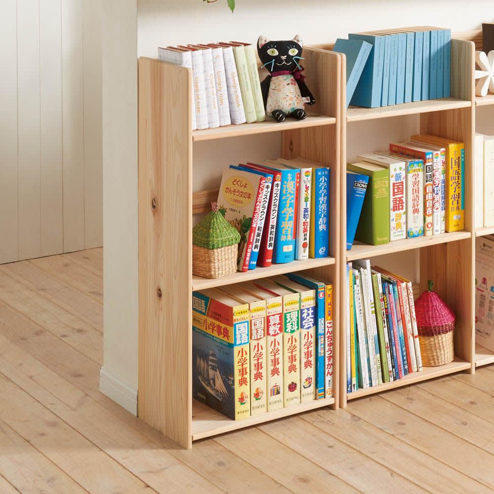 国産杉の収納ラックシリーズ テキスト収納ラック(奥行25cm) 奥行25cmは教科書や辞書がしっかり収納できます。