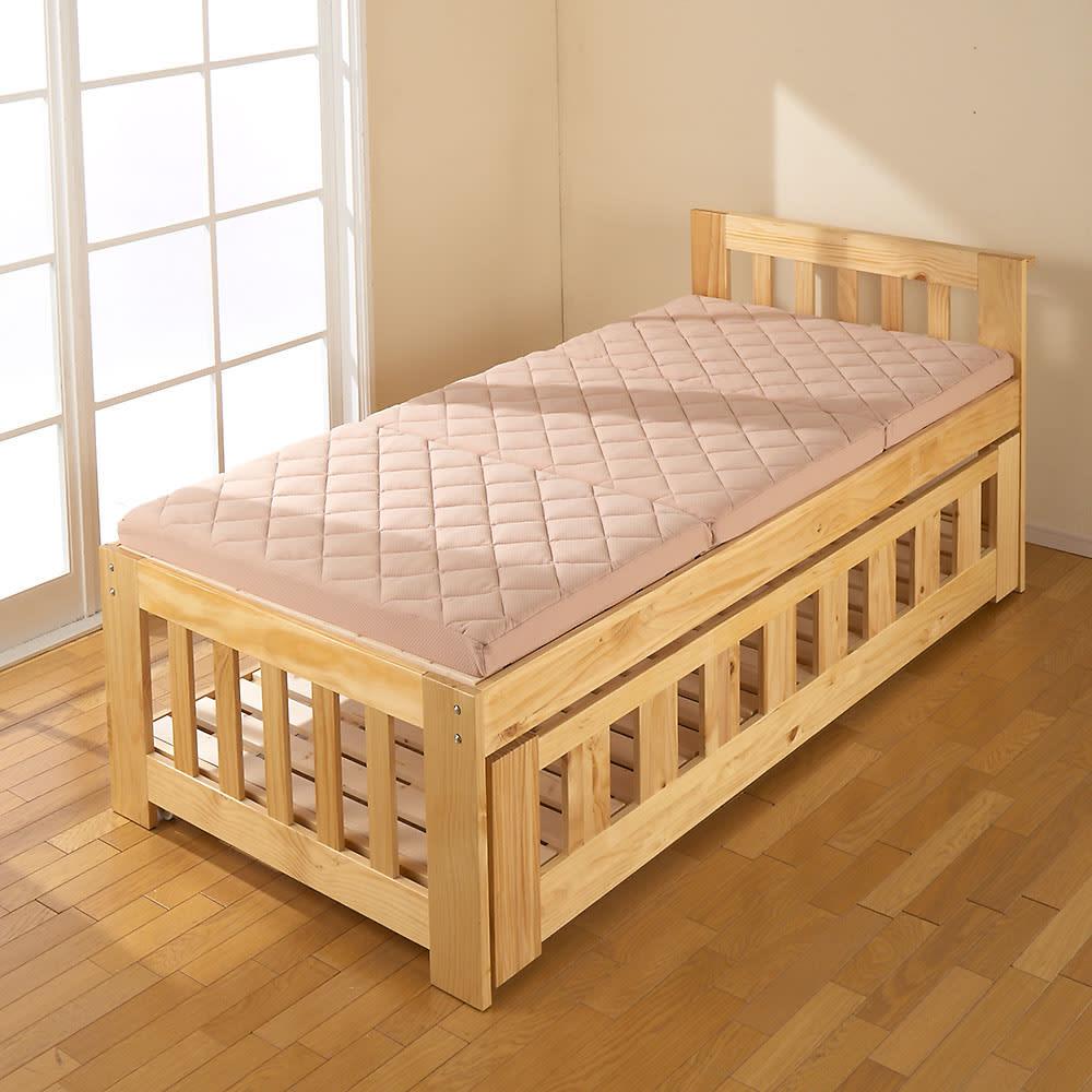 3サイズから選べる!二段ベッド用洗えるカバーの三つ折りマットレス バランスタイプ ※使用イメージ