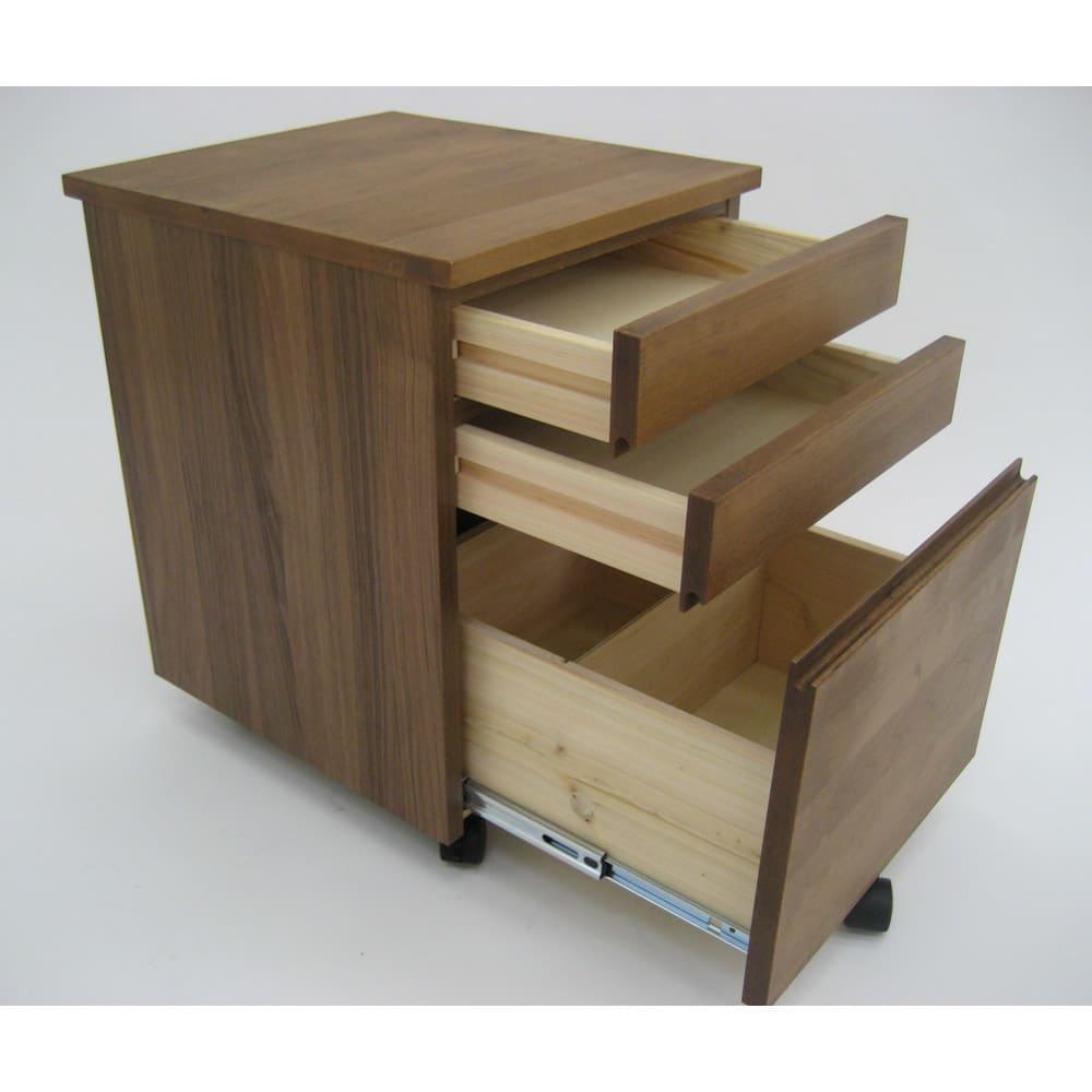 ミニマムデスク TSUKUE(ツクエ)サイドチェスト 幅41.5cm 引き出し内部は、建材にも使われる国産ヒノキ材を使用。