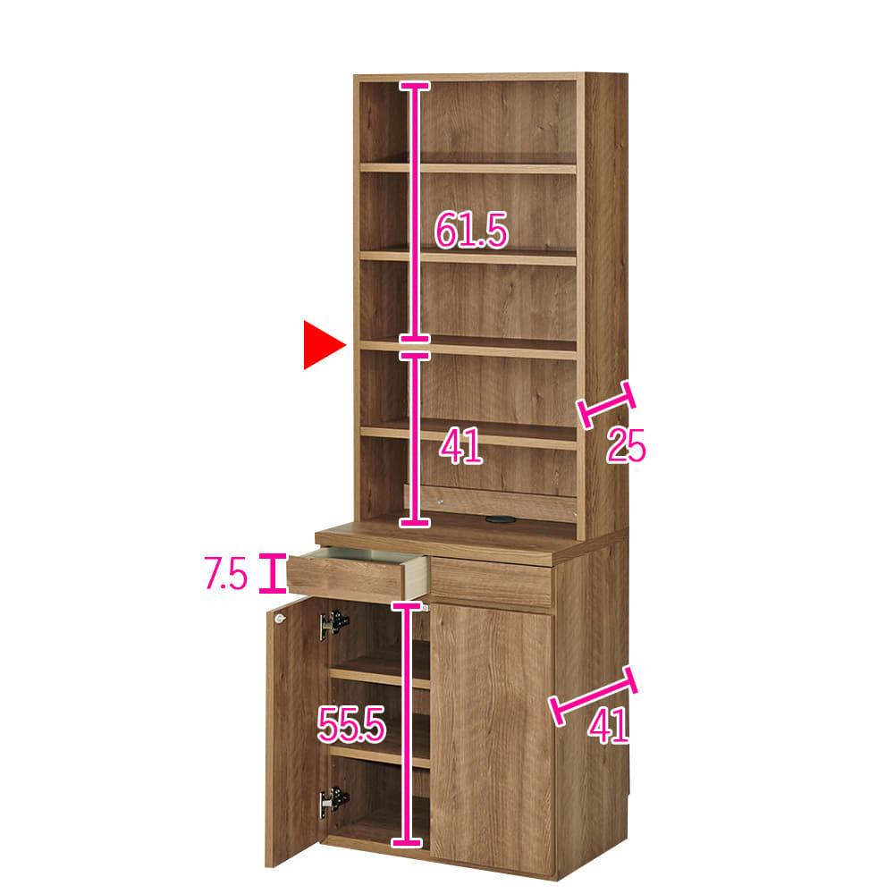 ホームライブラリーシリーズ キャビネット 幅60cm 高さ180cm (ア)ブラウン ※赤文字は内寸(単位:cm)