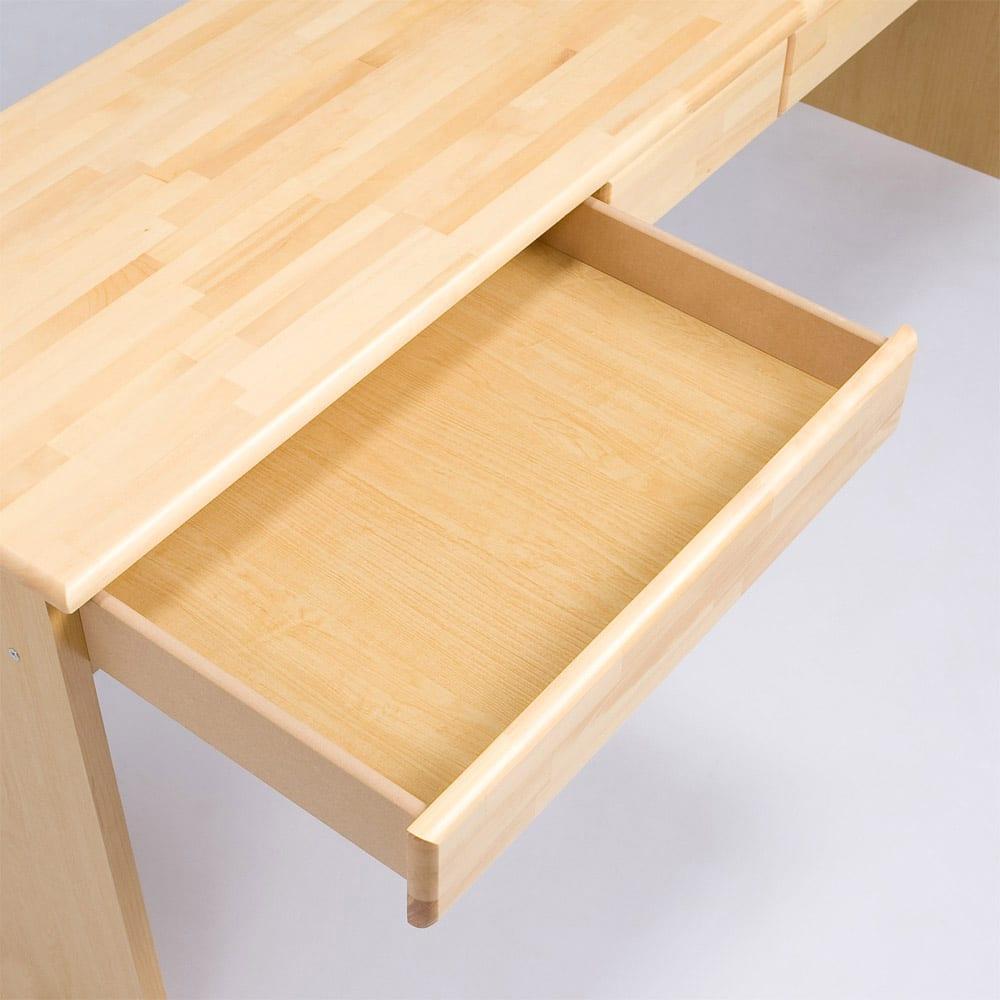 パイン天然木 薄型シンプルデスクシリーズ デスク 幅150cm (ア)ライトブラウン 引出し仕様…レールやストッパーは付いておりません。