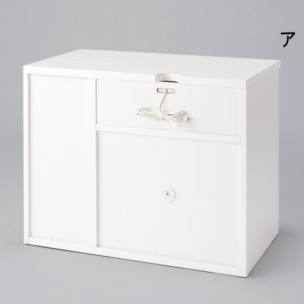 オールインワン!組立不要 マルチ収納パソコンデスク 幅89cm (ア)ホワイト 裏面仕様。写真は幅89cmタイプです。