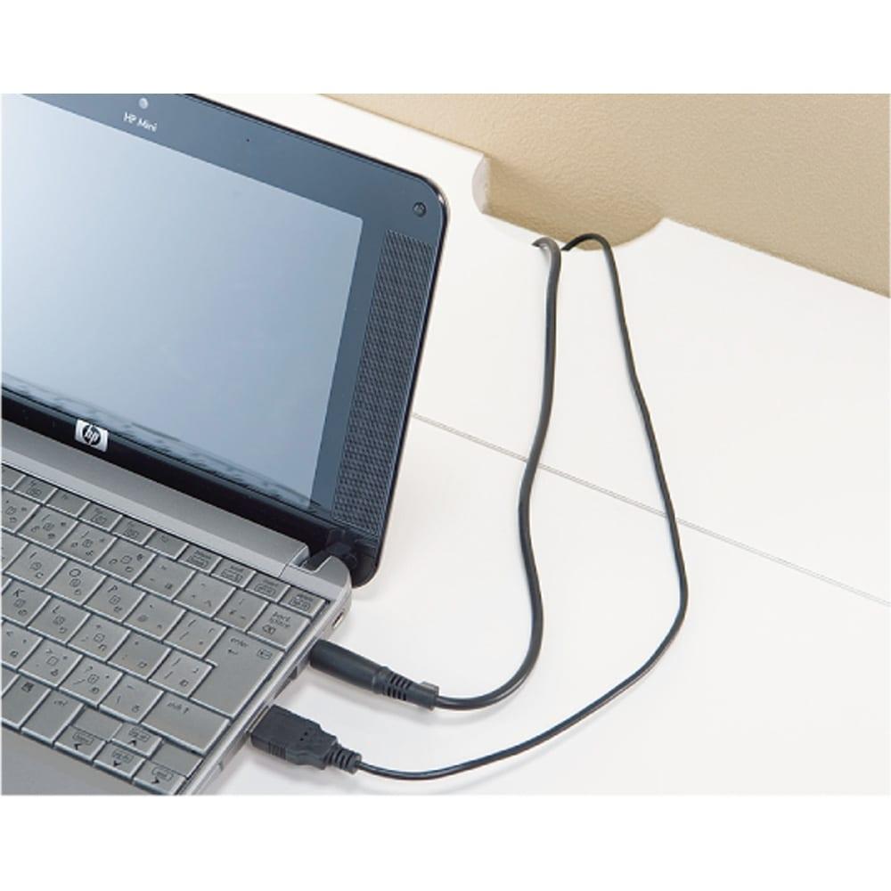 オールインワン!組立不要 マルチ収納パソコンデスク 幅89cm 天板奥に配線コードが通せるかきこみ付き。
