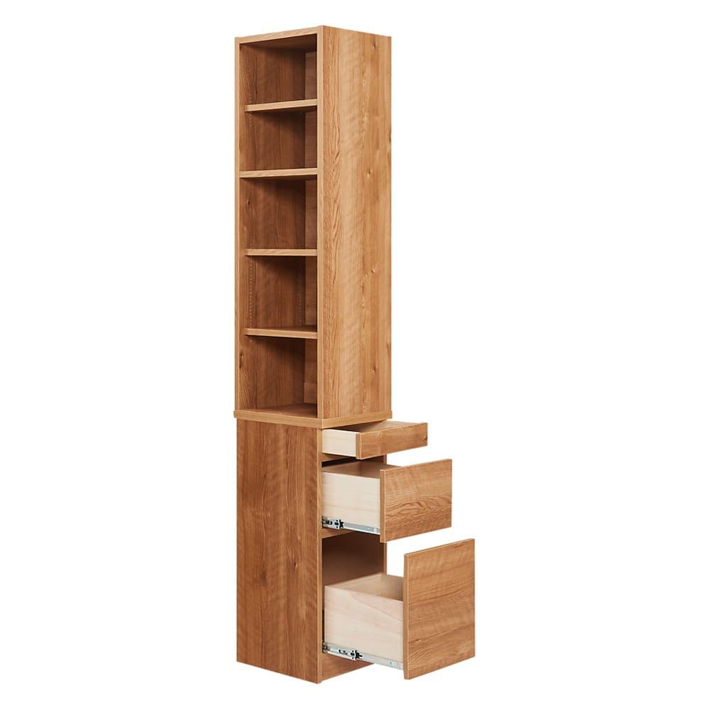 天然木調 薄型コンパクトオフィスシリーズ サイドラック・幅30cm 商品イメージ…チェスト引き出し時 コンパクトなサイズ感ながらも充実の収納力です。