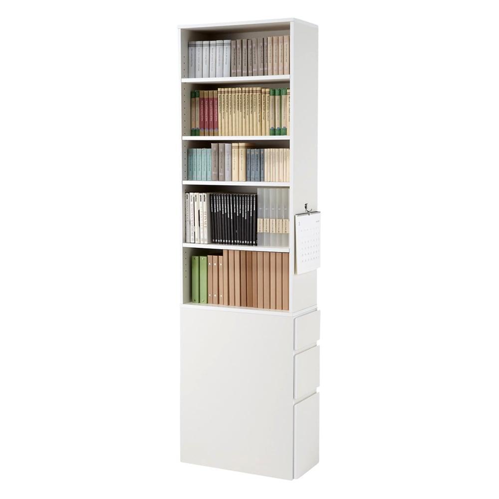 デスクサイド収納ラック 幅30奥行46.5cm (高さ150/180/210cm) ≪AFTER≫ 収納物に合わせて棚板を設置できるため、すっきり&たっぷり収納できます!