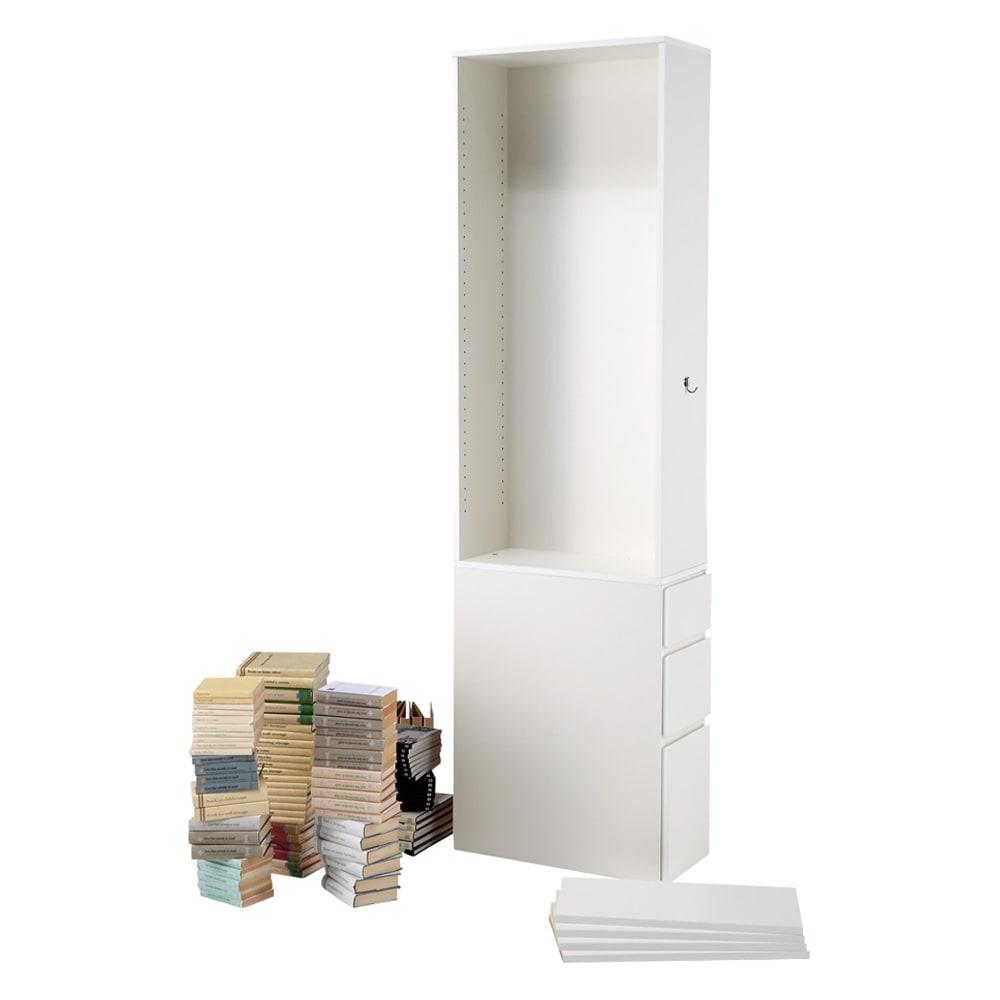 デスクサイド収納ラック 幅30奥行46.5cm (高さ150/180/210cm) ≪BEFORE≫ 棚板は全て可動式!なので様々なサイズの本の収納が…