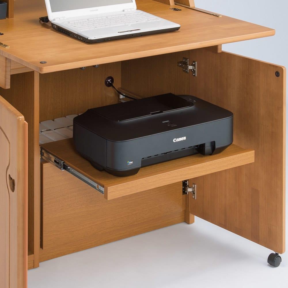 パイン天然木ライティングデスク 幅60.5cm プリンターは使う時だけ引き出せるスライドテーブルに収納。