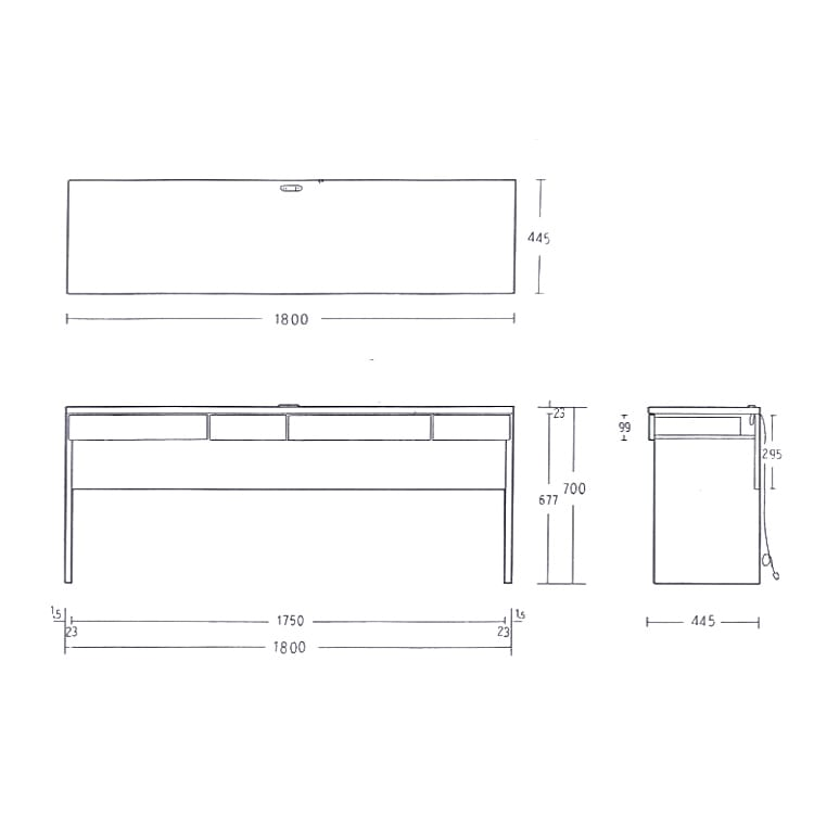 シンプルデスクシリーズ 薄型デスク 幅180cm 【詳細図】