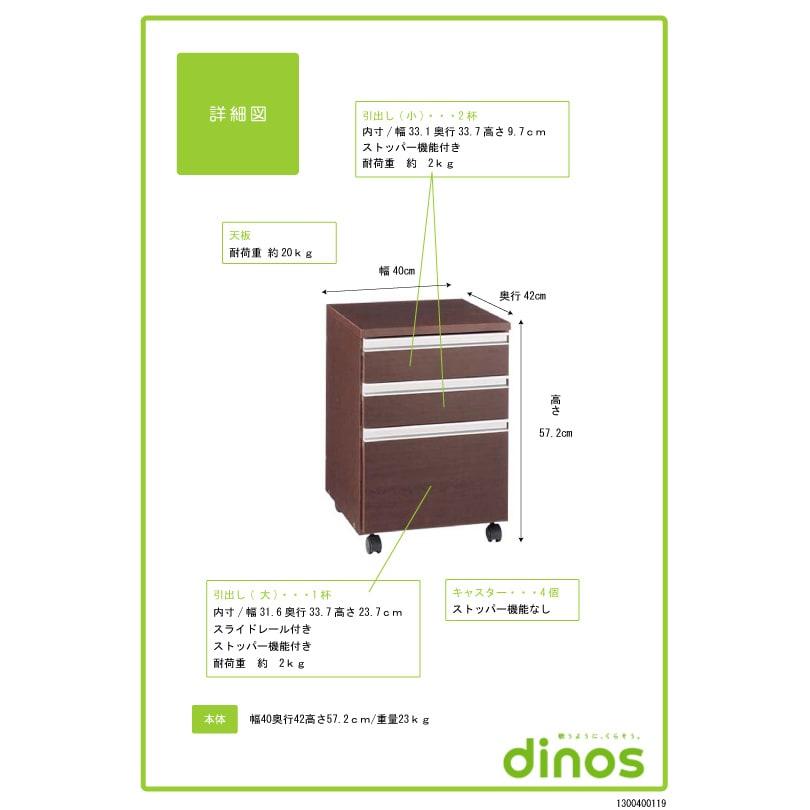 シンプルデスクシリーズ サイドチェストワゴン 【詳細図】