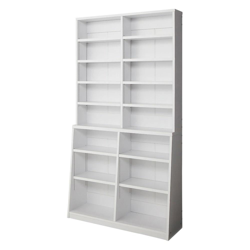 脚元安定1cmピッチ棚板頑丈薄型書棚 高さ168.5cm 【幅90cmタイプ】(イ)ホワイト