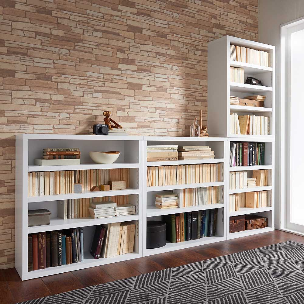 組立不要1cmピッチ頑丈棚板本棚 オープンタイプ 商品は横に並べての設置もおすすめです。 コーディネート例(イ)ホワイト ※左から幅80cmタイプ(横並びで使用)、幅60cmタイプです。