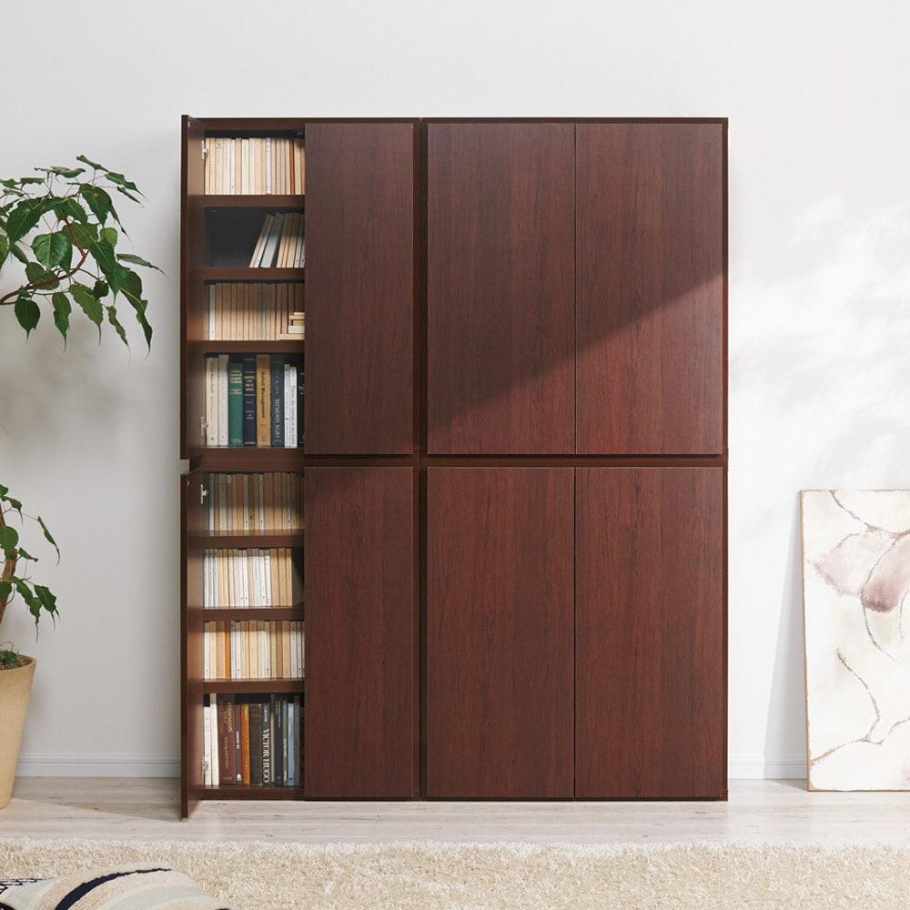 組立不要1cmピッチ頑丈棚板本棚 扉タイプ 上下ジョイントして使用すれば本棚として。(ウ)ダークブラウン ※左から幅60cmタイプ、幅80cmタイプです。