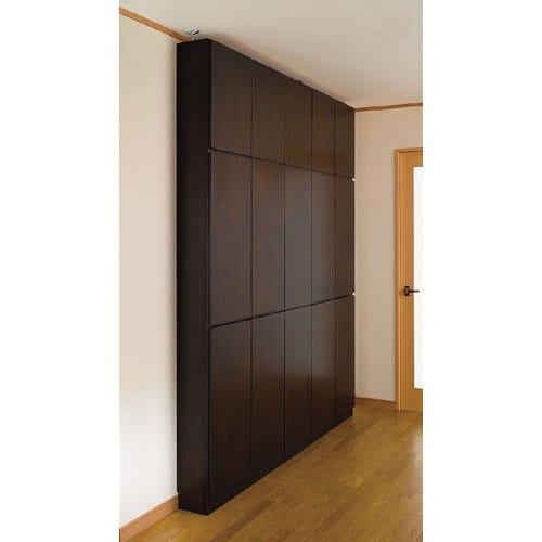 1cmピッチ薄型壁面書棚 奥行29.5cm 幅123cm 高さ180cm 扉 (ア)ダークブラウン色見本 写真は奥行20cmタイプです。