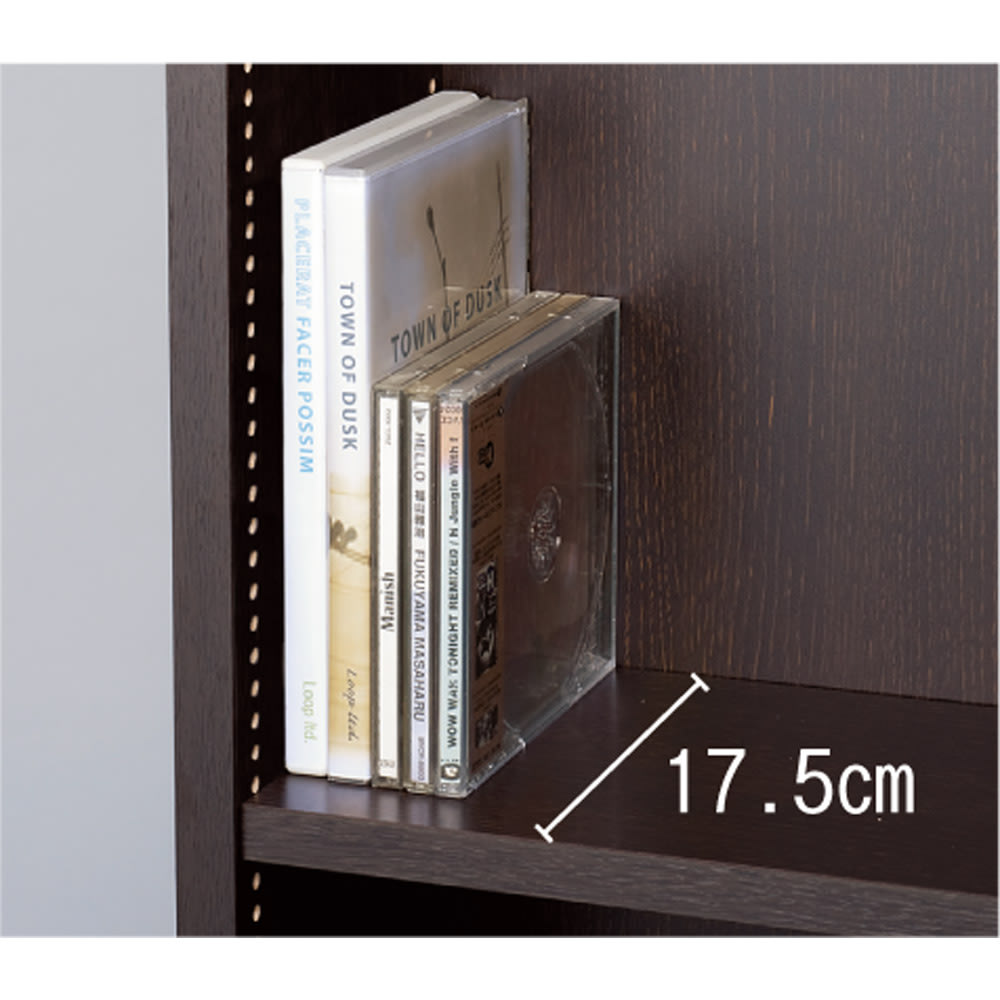 1cmピッチ薄型壁面書棚 奥行20.5cm 幅123cm 上置き高さ55cm 扉 奥行19、20.5cmの浅型は文庫やCDの収納に。