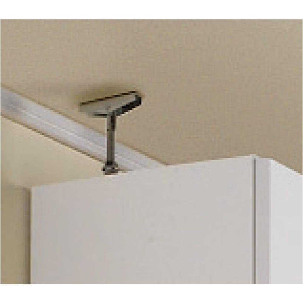 1cmピッチ薄型壁面書棚 奥行20.5cm 幅123cm 上置き高さ55cm 扉 大きな設置面で支える、安心構造の天井突っ張り式。